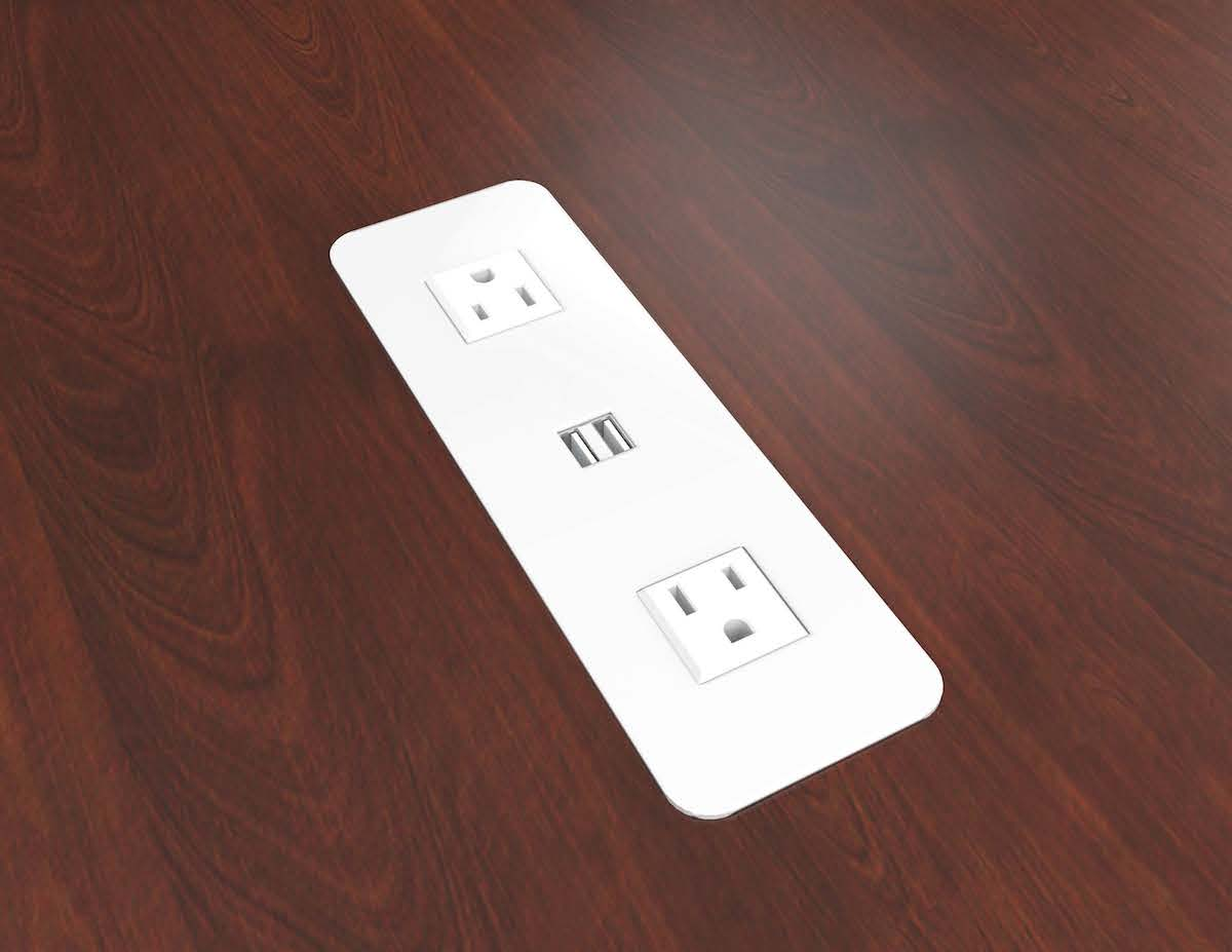 Surface mount power outlets with usb charging ports Motorized table