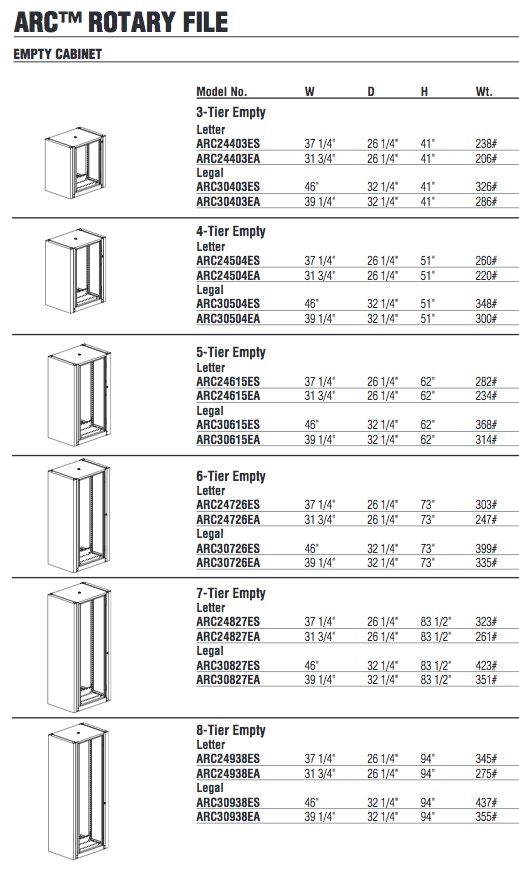 Mayline ARC Rotary File Specifications