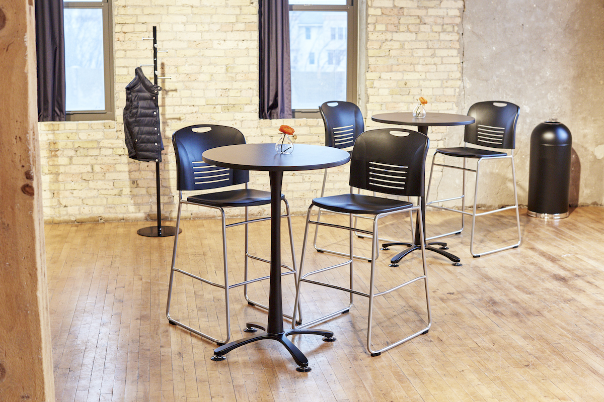 Safco Cha-Cha Bistro Tables with Reve Stools