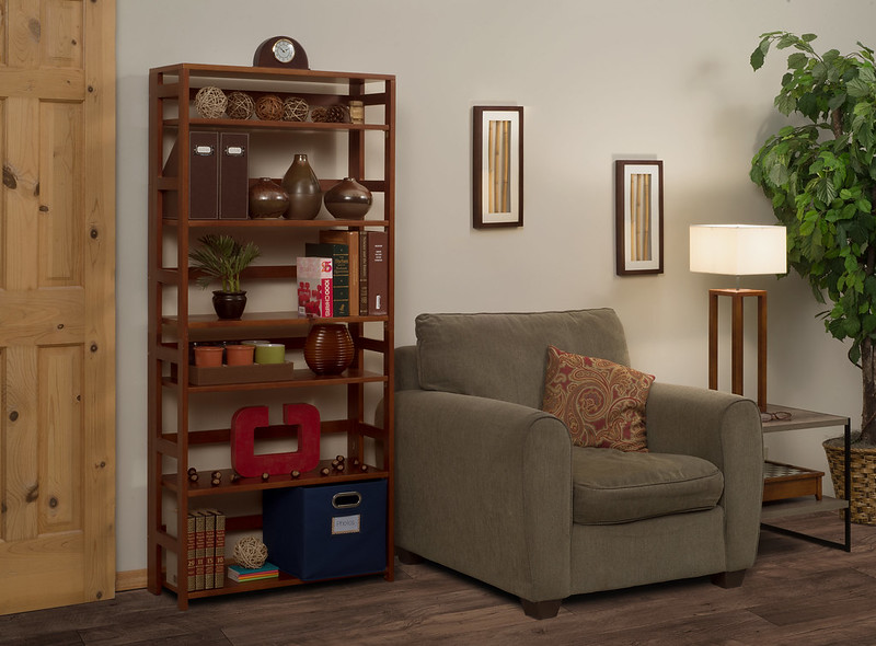 "67"" Flip Flop Folding Bookcase in Cherry"