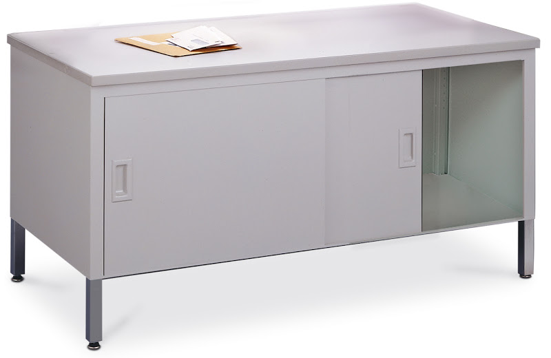 Mayline Mailflow Storage Table with Sliding Doors