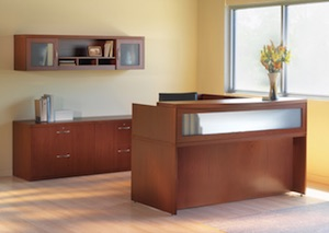 Mayline Aberdeen Reception Desk & Storage Cabinets