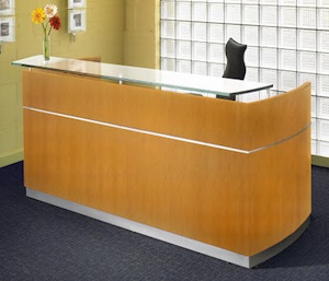 Mayline Napoli Reception Desk - Golden Cherry