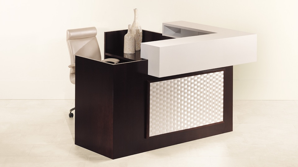 OFS Element Reception Desk with Metal Weave