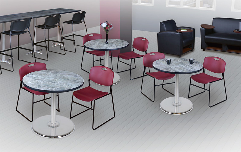 Regency Via Breakroom, Bistro Tables and Chairs