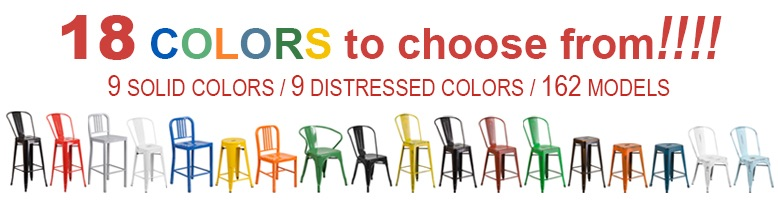 Colorful Metal Stools, Chairs, and Tables
