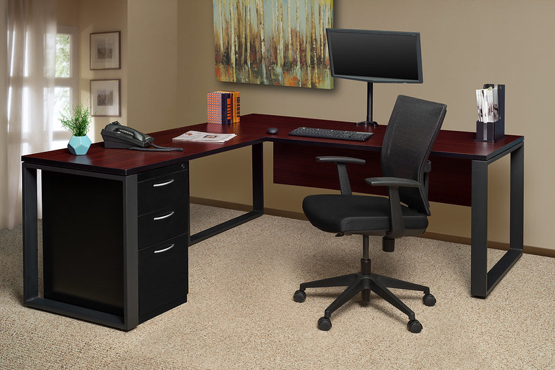 Structure L-Shape Desk with Fusion File Cabinet