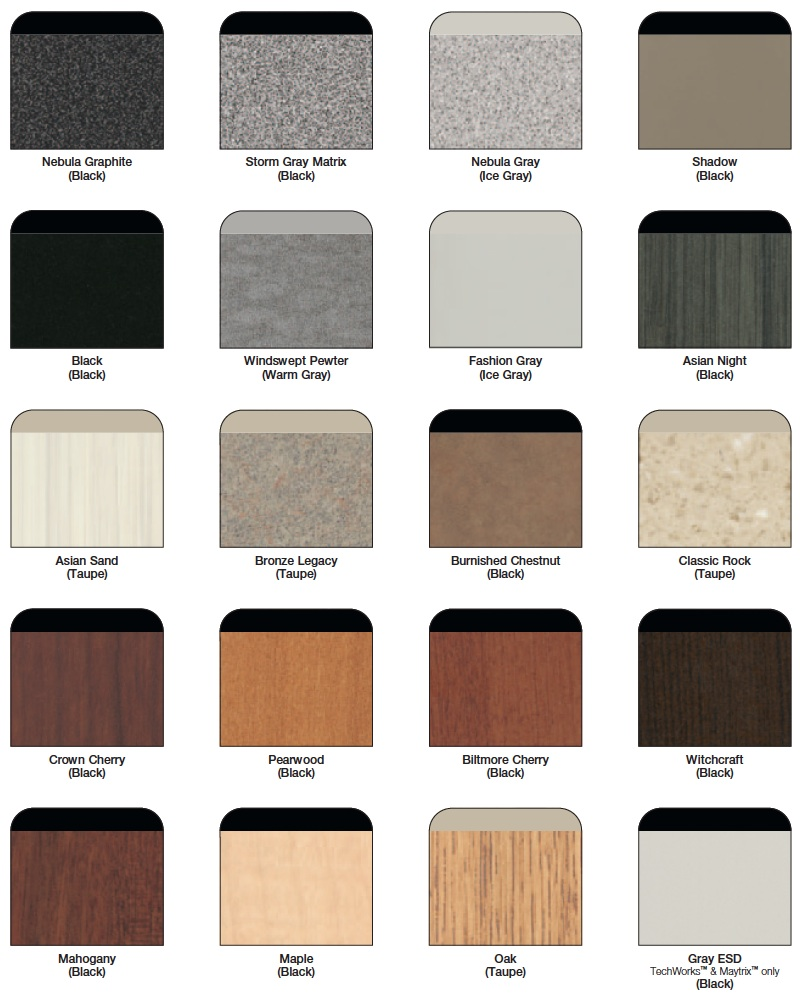 Mayline High Pressure Laminate Surface & Edge Colors