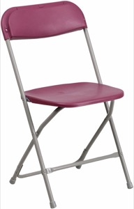 Burgundy, Gray folding chair