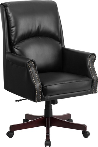 Traditional Leather Office Chair - Nail Trim Pillow Back - Black