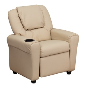 Beige kids recliner