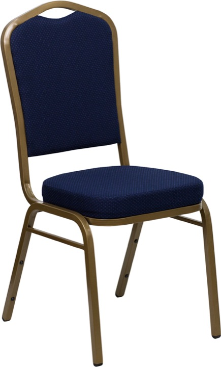 HERCULES Series Crown Back Stacking Banquet Chair with Navy Blue Patterned Fabric and 2.5u0027u0027 Thick Seat - Gold Frame [FD-C01-ALLGOLD-2056-GG]  sc 1 st  VQV Furniture Group & Enhance Your Event and Banquet Facilities with HERCULES Banquet Chairs