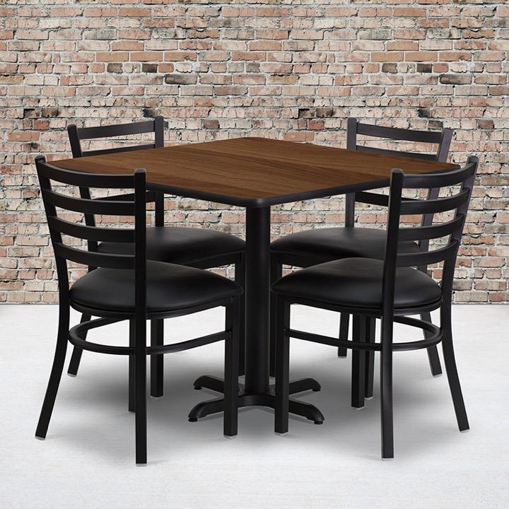 36u0027u0027 Square Walnut Laminate Table Set With 4 Ladder Back Metal Chairs    Black Vinyl Seat [HDBF1016 GG]