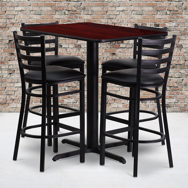 Enhance Your Event Space With A Table And Metal Restaurant Bar Stool Set - 24 x 24 restaurant table