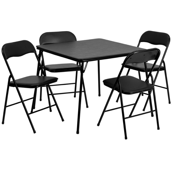 5 Piece Black Folding Card Table And Chair Set Jb 1 Gg
