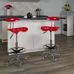 Red drafting stool