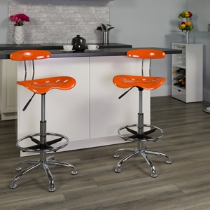 Orange drafting stool