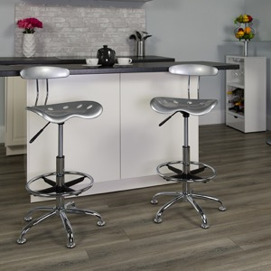 Silver drafting stool
