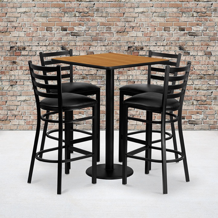 Square Table And Metal Restaurant Bar Stool Set