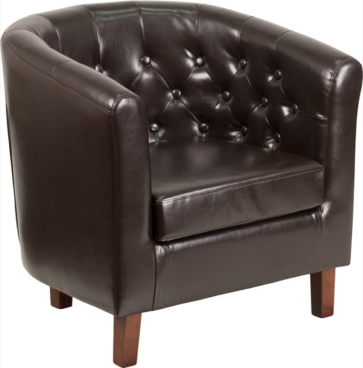 HERCULES Cranford Series Brown Leather Tufted Barrel Chair  [QY B16 HY 9030 4 BN GG]