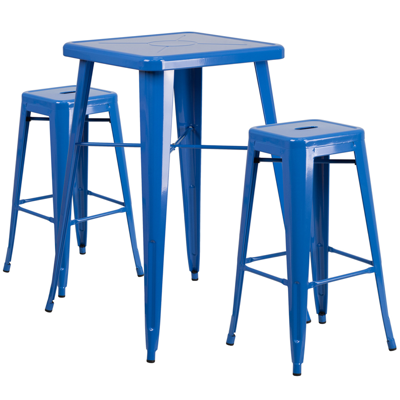 metal bar table u0026 backless stool set