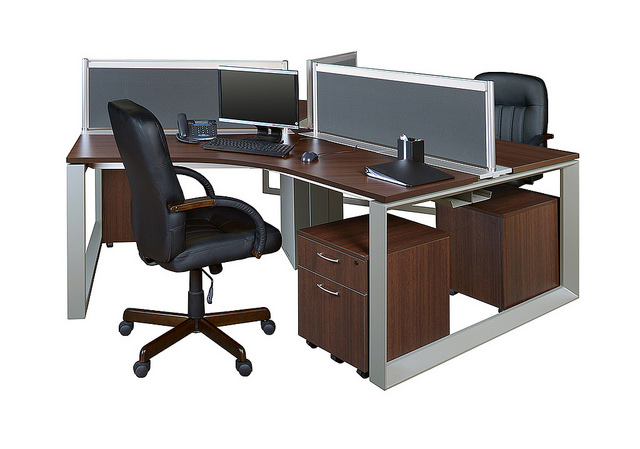 Elements Workstations Have Metal Legs And A Thick Laminate Work Surface.