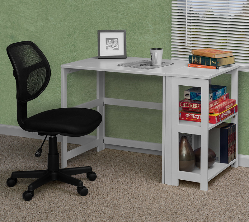Flip Flop Folding Desk in White with Carter Task Chair