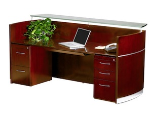 Mayline Napoli Reception Desk - Sierra Cherry