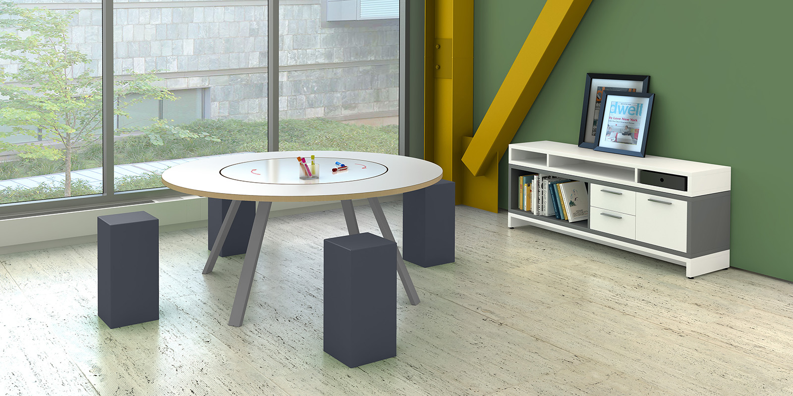 Office Furniture Round Table - Small round meeting table and chairs
