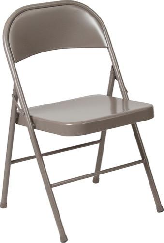 HERCULES Series Double Braced Beige Metal Folding Chair [BD F002 BGE GG