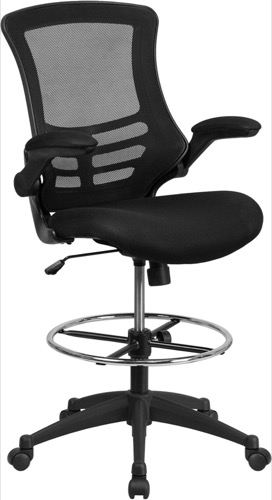 Executive Office Chair Flip Up Arms Mid Back Black Mesh Drafting Chair Adjustable Foot Ring