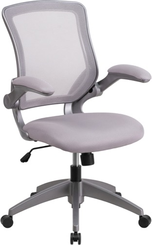 Mid Back Gray Mesh Swivel Task Chair With Gray Frame And Flip Up Arms  [BL ZP 8805 GY GG]