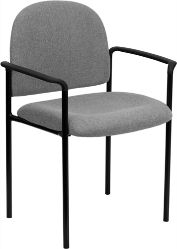 Gray Fabric Comfortable Stackable Steel Side Chair With Arms  [BT 516 1 GY GG]