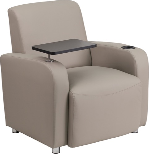 Superb Reception Chair Gray Leather Guest Chair Tablet Arm Chrome Legs And Cup Holder Ibusinesslaw Wood Chair Design Ideas Ibusinesslaworg