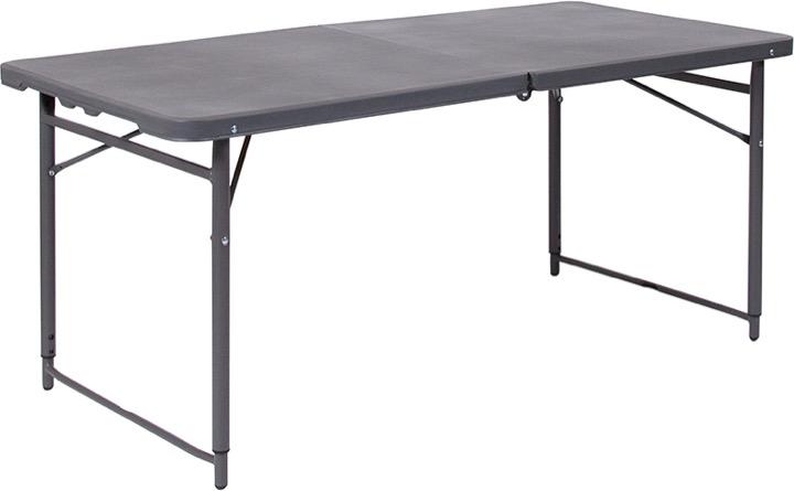 23.5u0027u0027W X 48.25u0027u0027L Height Adjustable Bi Fold Dark Gray Plastic Folding Table  With Carrying Handle [DAD LF 122Z DG GG]