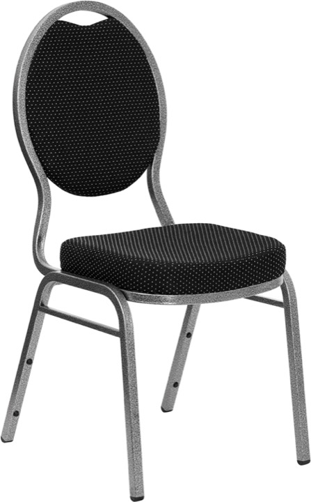 HERCULES Series Teardrop Back Stacking Banquet Chair With Black Patterned  Fabric And 2.5u0027u0027 Thick Seat   Silver Vein Frame [FD C04 SILVERVEIN S076 GG]