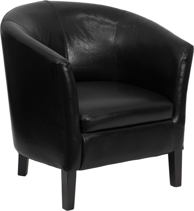 Black Leather Barrel Shaped Guest Chair [GO S 11 BK BARREL GG]
