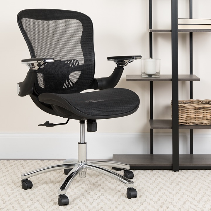 Executive Office Chair Mid Back Black Mesh Height Adjustable Flip Up Arms