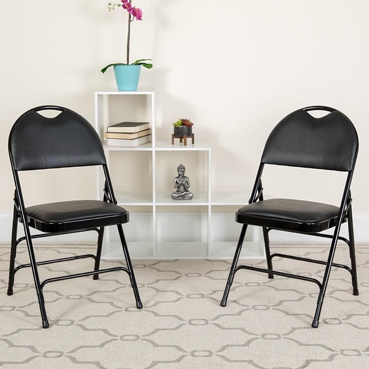 HERCULES Series Extra Large Ultra Premium Triple Braced Black Vinyl Metal Folding  Chair With Easy Carry Handle [HA MC705AV 3 BK GG]