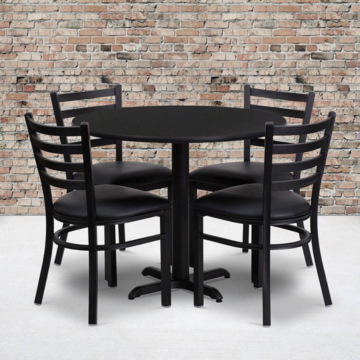 36u0027u0027 Round Black Laminate Table Set With 4 Ladder Back Metal Chairs   Black  Vinyl Seat [HDBF1029 GG]