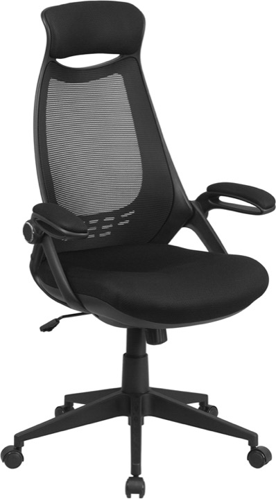 High Back Black Mesh Executive Swivel Office Chair With Flip Up Arms  [HL 0018 GG]