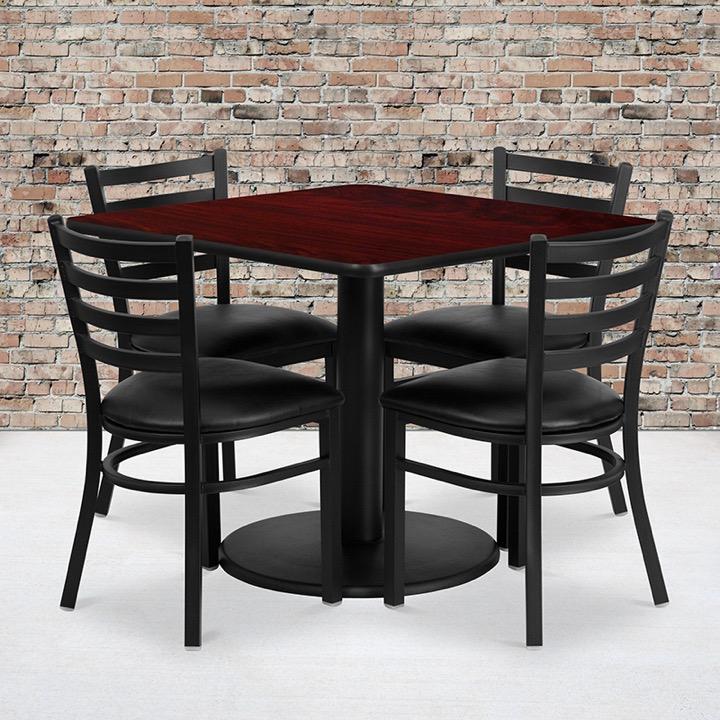 Attirant 36u0027u0027 Square Mahogany Laminate Table Set With 4 Ladder Back Metal Chairs    Black Vinyl Seat [RSRB1014 GG]
