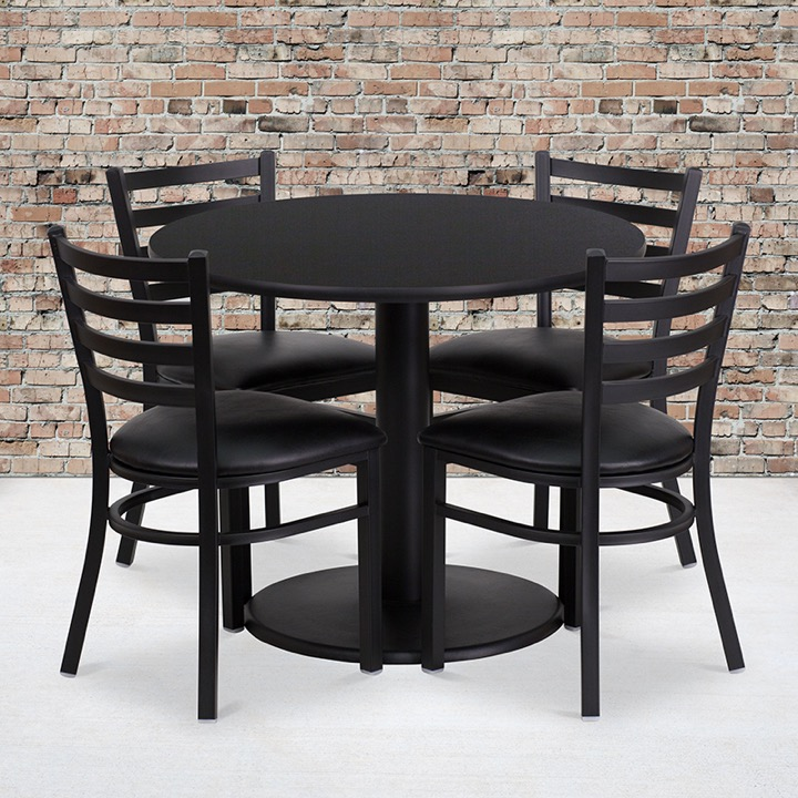 36u0027u0027 Round Black Laminate Table Set With 4 Ladder Back Metal Chairs   Black  Vinyl Seat [RSRB1029 GG]