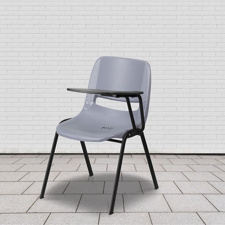 Gray Ergonomic Shell Chair With Left Handed Flip Up Tablet Arm  [RUT EO1 GY LTAB GG]