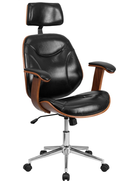High Back Black Leather Executive Wood Swivel Office Chair Sd Sdm 2235 5 Bk Hr Gg