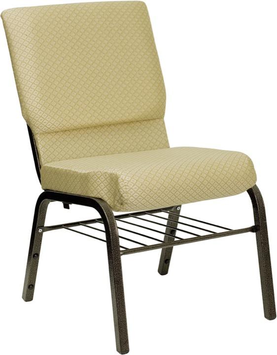HERCULES Series 18.5u0027u0027W Beige Patterned Fabric Church Chair With 4.25u0027u0027  Thick Seat, Book Rack   Gold Vein Frame [XU CH 60096 BGE BAS GG]